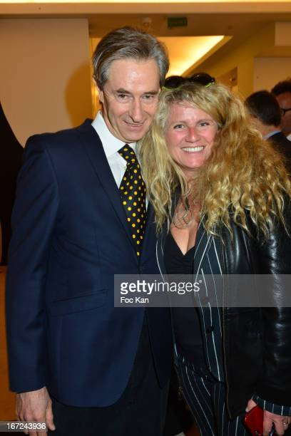 Aramy Machry and sculptor Nathalie Decoster attend 'Le Bresil Rive Gauche' Exhibition At Le Bon Marche on April 22 2013 in Paris France