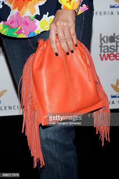 Arancha del Sol handbag detail attends 'NV' fashion show during Kids Fashion Week on January 22 2016 in Madrid Spain