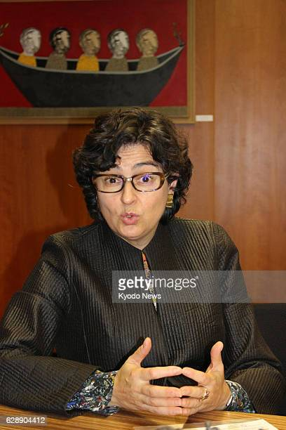 Arancha Gonzalez executive director of the International Trade Center speaks to Kyodo News in an interview in her office in Geneva on Dec 7 2016...