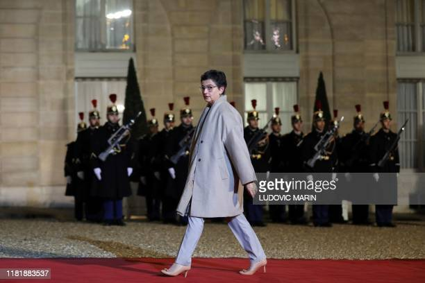 Arancha Gonzalez Executive Director of the International Trade Centre arrives to attend a dinner with the participants of the Paris Peace Forum at...