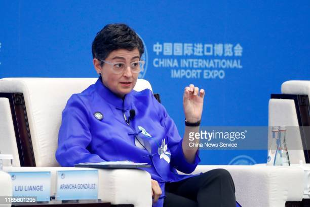 Arancha Gonzalez executive director of the International Trade Centre speaks during the 2nd Hongqiao International Economic Forum as part of the 2nd...