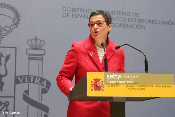Arancha Gonzalez Laya during her speech after receiving the portfolio of the Ministry of Foreign Affairs European Union and Cooperation from her...