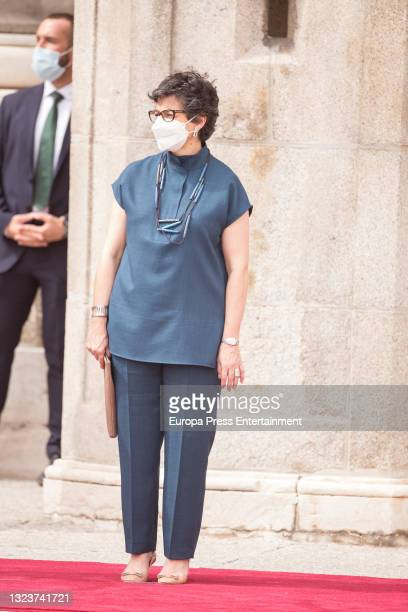 Arancha Gonzalez Laya during the reception of the President of the Republic of Korea, Moon Jae-in, and his wife, Kim Jung-sook, upon their arrival in...