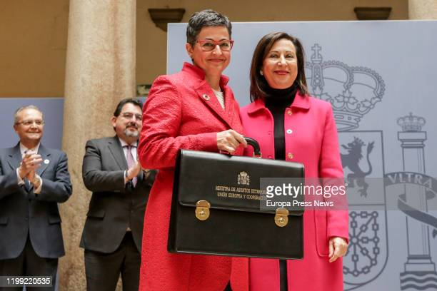 Arancha Gonzalez Laya receives the portfolio of the Ministry of Foreign Affairs European Union and Cooperation from her predecessor Margarita Robles...