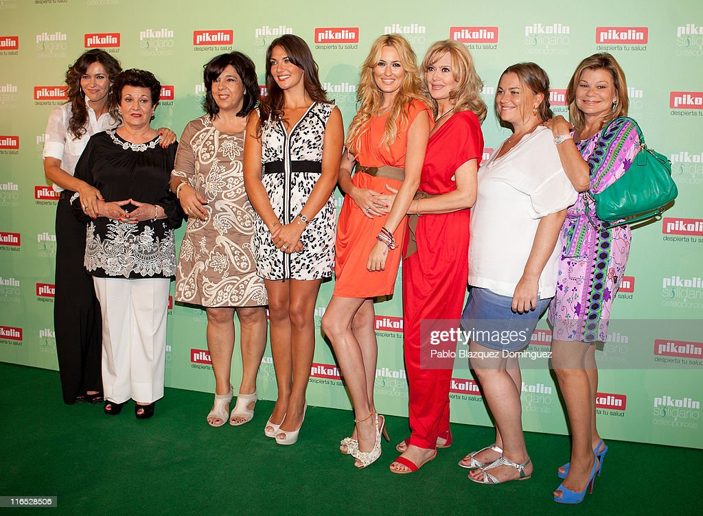 Arantxa del Sol with her mother, Lorena Bernal and with her mother, Carolina Cerezuela with her mother Maria Jose Gil and Caritina Goyanes with her mother Cari Lapique attend 'Pikolin Charity Matress' presentation at Santo Mauro Hotel on June 16, 2011 in Madrid, Spain.