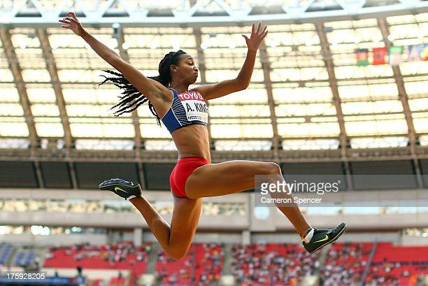 Arantxa King of Bermuda competes in the Women's Long Jump qualification during Day One of the 14th IAAF World Athletics Championships Moscow 2013 at...