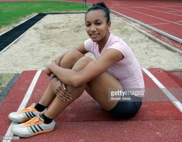 Arantxa King poses for a portrait near the long jump pit at the Tufts University track in Medford Mass on Tuesday June 20 2007 Arantxa a 2007...