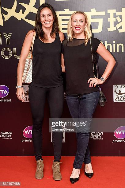 Arantxa Parra Santonja of Spain and Anastasia Rodionova of Australia arrives at the 2016 China Open Player Party at The Birds Nest on October 3 2016...