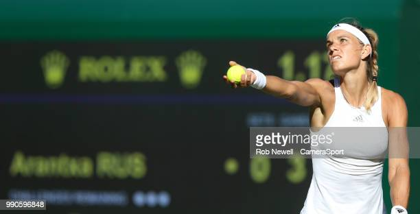 Arantxa Rus during her first round match against Serena Williams at All England Lawn Tennis and Croquet Club on July 2 2018 in London England