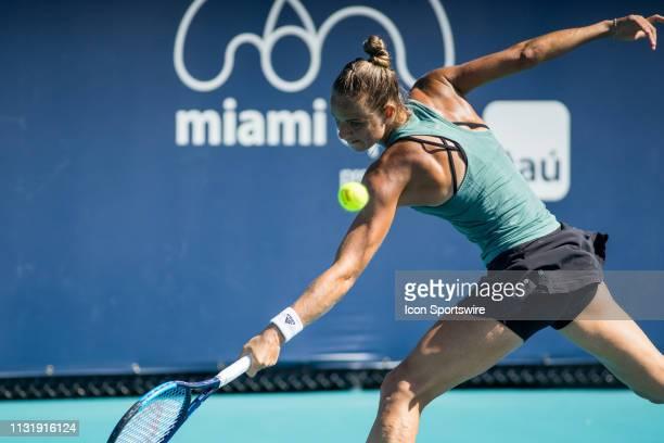 Arantxa Rus in action during the Miami Open on March 20 2019 at Hard Rock Stadium in Miami Gardens FL
