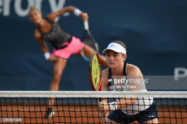 Arantxa Rus of Nederland and Tamara Zidansek of Slovenia in action during their match against Greet Minnen and Alison Van Uytvanck of Belgium during...