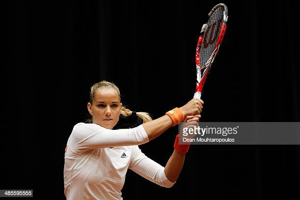 'SHERTOGENBOSCH NETHERLANDS APRIL 19 Arantxa Rus of Netherlands in action against Kurumi Nara of Japan during the Fed Cup World Group II Playoff...