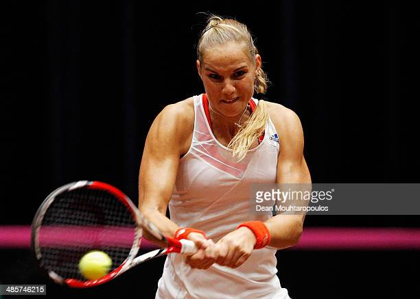 'SHERTOGENBOSCH NETHERLANDS APRIL 20 Arantxa Rus of Netherlands in action against Misaki Doi of Japan during the Fed Cup World Group II Playoff match...