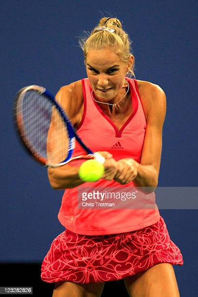 Arantxa Rus of Netherlands returns a shot against Caroline Wozniacki of Denmark during Day Four of the 2011 US Open at the USTA Billie Jean King...