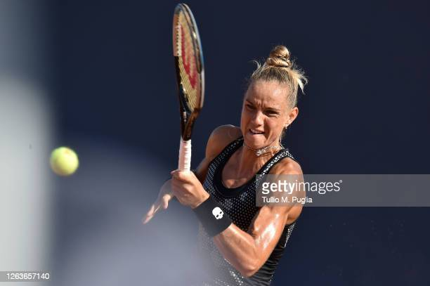Arantxa Rus of Netherlands returns a shot against Donna Vekic of Croatia during the 31st Palermo Ladies Open - Day One on August 03, 2020 in Palermo,...