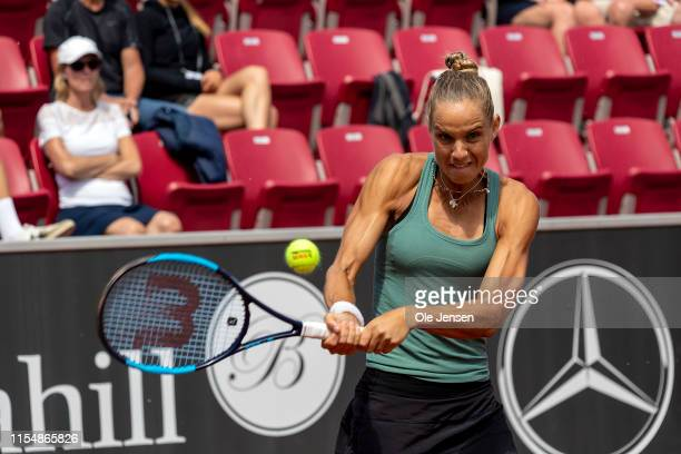 Arantxa Rus of The Netherland during her match with Johanna Larsson of Sweden at day three of 2019 Swedish Open WTA on July 10 2019 in Bastad Sweden...