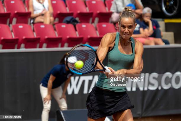 Arantxa Rus of The Netherland during her match with Johanna Larsson of Sweden at day three of 2019 Swedish Open WTA on July 10, 2019 in Bastad,...