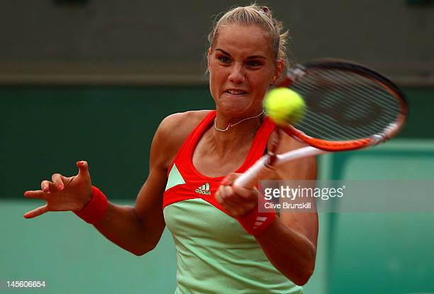 Arantxa Rus of the Netherlands in action in her women's singles third round match against Julia Goerges of Germany during day 7 of the French Open at...
