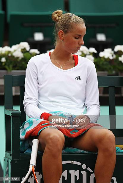Arantxa Rus of the Netherlands looks dejected in her women's singles fourth round match against Kaia Kanepi of Estonia during day 9 of the French...