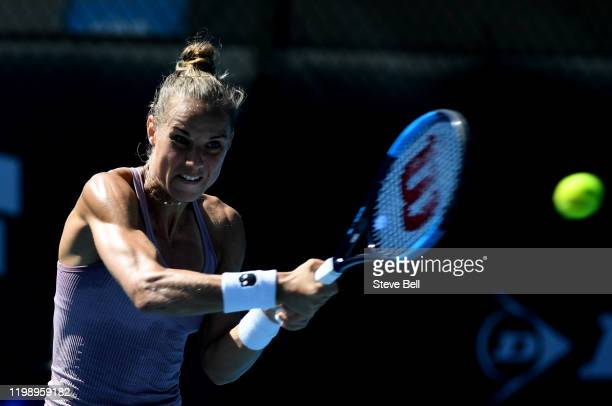 Arantxa Rus of the Netherlands plays a backhand against Christina McHale of the USA on day two of the 2020 Hobart International at Domain Tennis...