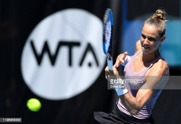 Arantxa Rus of the Netherlands plays a forehand against Christina McHale of the USA on day two of the 2020 Hobart International at Domain Tennis...