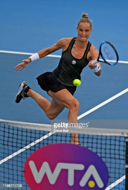 Arantxa Rus of the Netherlands plays a shot during day one of the 2020 Hobart International at Domain Tennis Centre on January 11, 2020 in Hobart,...