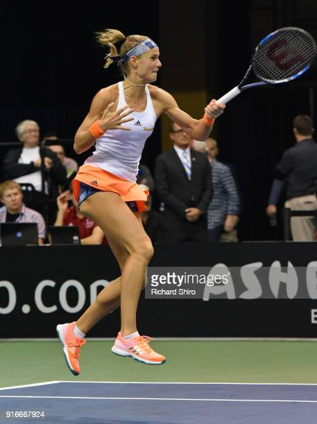 Arantxa Rus of the Netherlands returns a shot against Venus Williams of Team USA during the first round of the 2018 Fed Cup at US Cellular Center on...