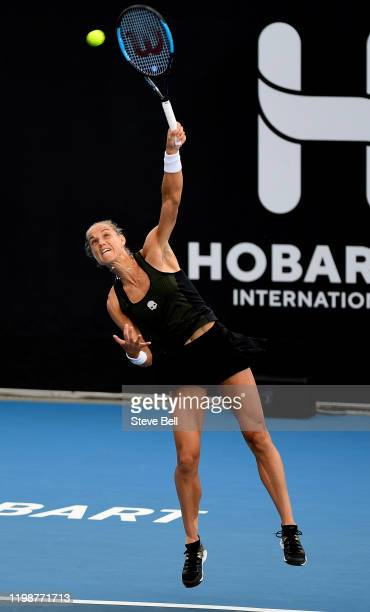 Arantxa Rus of the Netherlands serves during day one of the 2020 Hobart International at Domain Tennis Centre on January 11 2020 in Hobart Australia