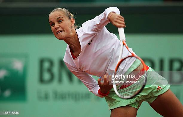 Arantxa Rus of the Netherlands serves in her women's singles fourth round match against Kaia Kanepi of Estonia during day 9 of the French Open at...