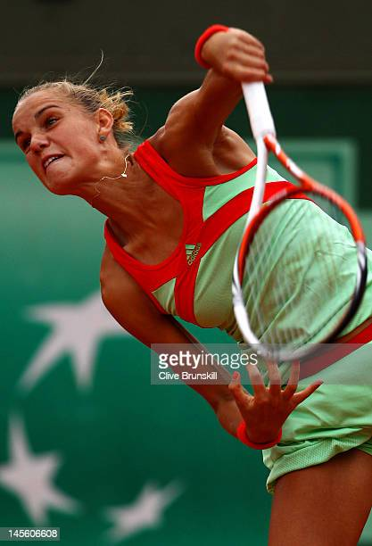 Arantxa Rus of the Netherlands serves in her women's singles third round match against Julia Goerges of Germany during day 7 of the French Open at...