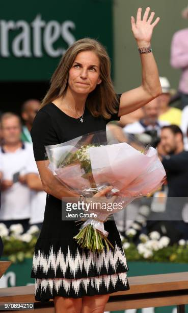 Arantxa Sanchez during the trophy ceremony on Day 14 of the 2018 French Open at Roland Garros stadium on June 9 2018 in Paris France