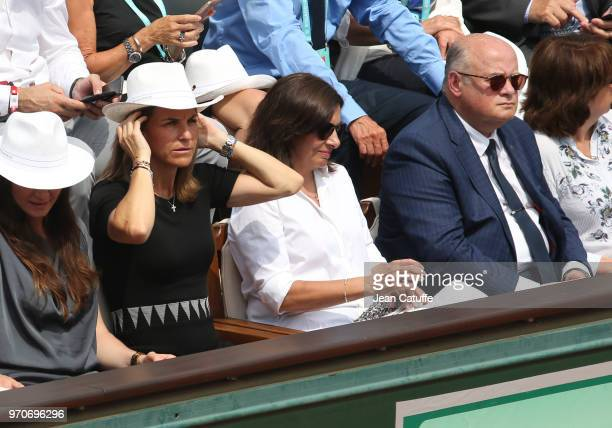 Arantxa Sanchez Mayor of Paris Anne Hidalgo Bernard Giudicelli President of French Tennis Federation FFT during the women's final on Day 14 of the...