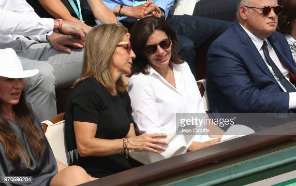 Arantxa Sanchez Mayor of Paris Anne Hidalgo during the women's final on Day 14 of the 2018 French Open at Roland Garros stadium on June 9 2018 in...