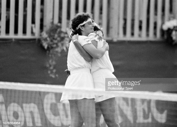 Arantxa Sanchez Vicario and Conchita Martinez of Spain congratulate each other after winning the Federation Cup Final against the United States at...