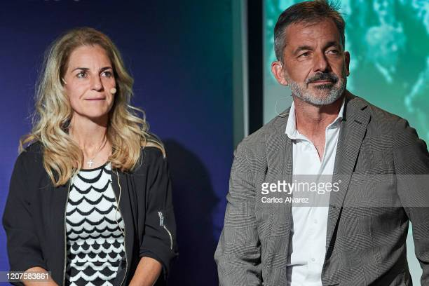 Arantxa Sanchez Vicario and Emilio Sanchez Vicario attend 'Cuatro Decadas de Deporte en Democracia' presentation at Ciudad de la Raqueta on February...