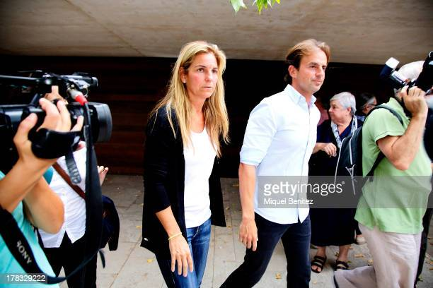 Arantxa Sanchez Vicario and Josep Santacana attend the funeral of Alvaro Bulto Sagnier on August 29 2013 in Barcelona Spain