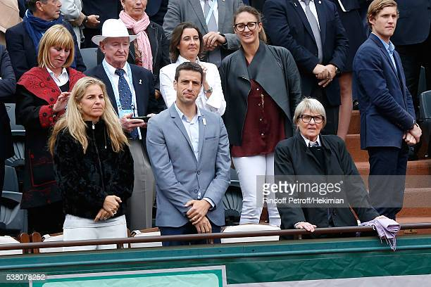 Arantxa Sanchez Vicario and Olympic Games of Paris 2024 Canoe Olympic champion Tony Estanguet attend Day Fourteen Women single's Final of the 2016...
