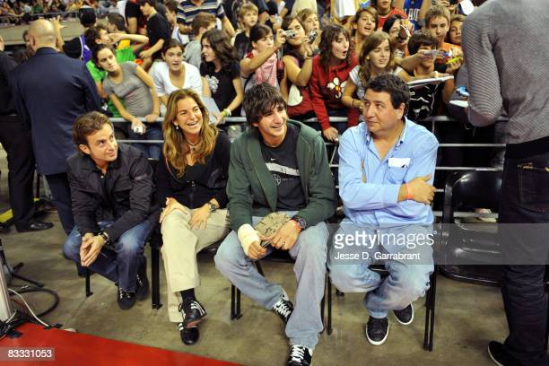 Arantxa Sanchez Vicario former tennis player and Ricky Rubio Spanish National Basketball player whatch the game during the 2008 NBA Europe Live Tour...