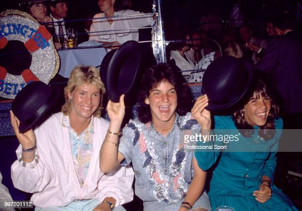 Arantxa Sanchez Vicario of Spain and Jennifer Capriati of the USA at the Players' Party during the Pilkington Glass Tennis Championships at...