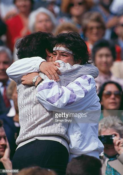 Arantxa Sanchez Vicario of Spain celebrates with her mother Marisa after winning the Women's Singles Final match against Steffi Graf at the French...
