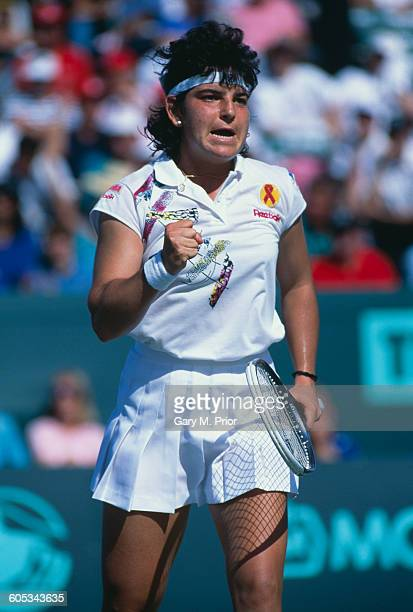 Arantxa Sanchez Vicario of Spain during her Women's Singles Final match against Steffi Graf at the ATP Lipton International Players Championship on...