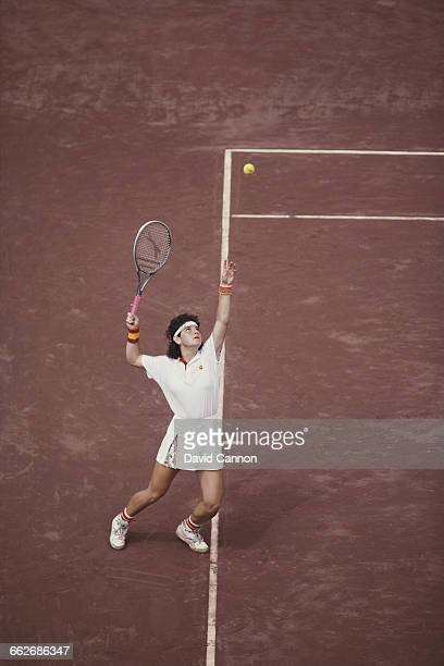Arantxa Sanchez Vicario of Spain during the final of the Women's Doubles tennis at the XXV Summer Olympic Games on 8 August 1992 at the Vall d'Hebron...
