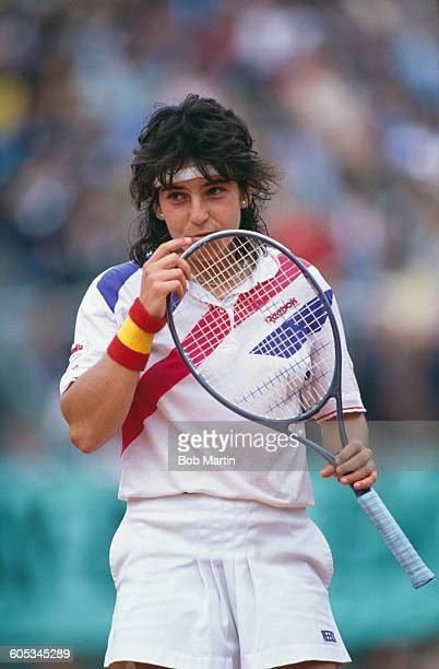 Arantxa Sanchez Vicario of Spain during the Women's Singles Final match against Steffi Graf at the French Open Tennis Championship on 10 June 1989 at...