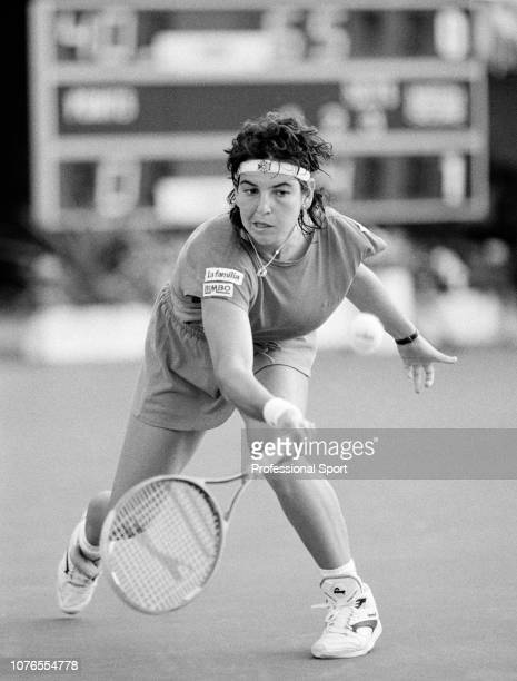 Arantxa Sanchez Vicario of Spain in action during the Federation Cup at the Nottingham Tennis Centre in Nottingham England circa July 1991