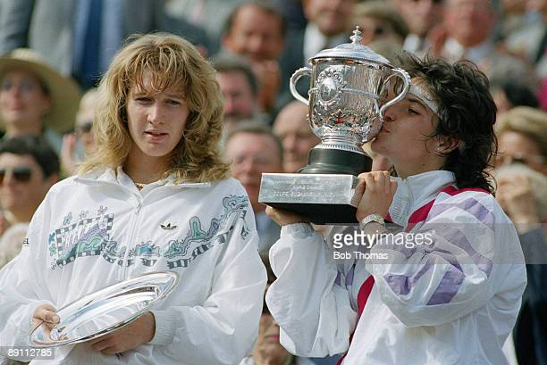 Arantxa Sanchez Vicario of Spain kissing the trophy after winning the ladies singles final of the French Open Tennis Championships held at Roland...