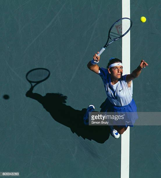 Arantxa Sanchez Vicario of Spain serves against Joannette Kruger during the Women's Singles second round match of the US Open Tennis Championship on...