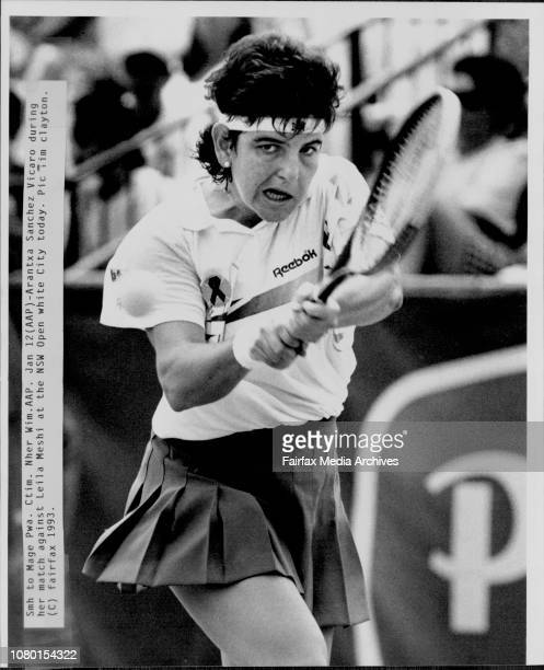 Arantxa Sanchez Vicaro during her match against Leila Meshi at the NSW open white city today January 12 1993