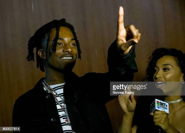 Arantza Fahnbulleh interviews recording artist Playboi Carti backstage at night one of the 2017 BET Experience STAPLES Center Concert sponsored by...