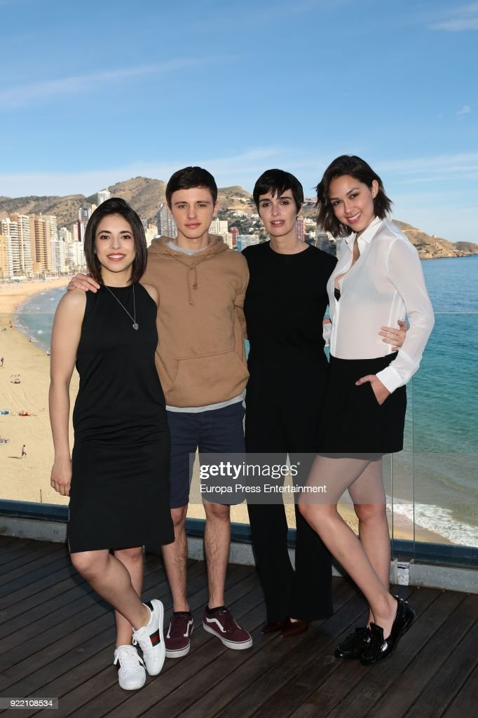 Arantza Ruiz, Ivan Pellicer, Paz Vega and Luisa Rubino attend the filming of 'Fugitiva' serie on February 20, 2018 in Benidorm, Spain.