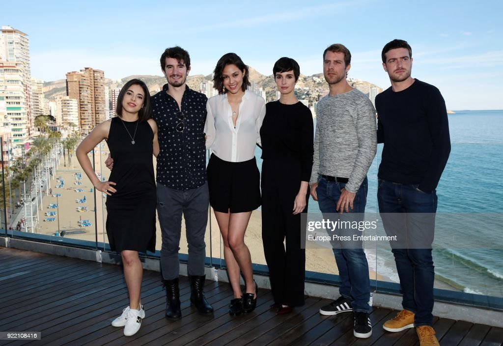 Arantza Ruiz, Lander Otaola, Luisa Rubino, Paz Vega, Jose Manuel Poga and Raul Merida attend the filming of 'Fugitiva' serie on February 20, 2018 in Benidorm, Spain.